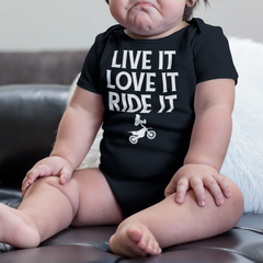 Motocross baby clothes, dirt bike onesie, live it love it ride it