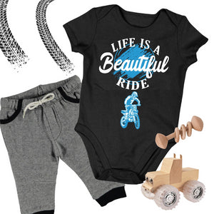 Baby Dirt Bike Onesie- Life Is A Beautiful Ride - Baby Bodysuit