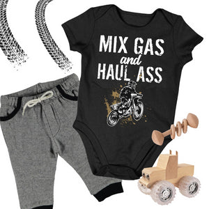 Baby Dirt Bike Onesie- Mixing Gas and Haul Ass - Baby Bodysuit