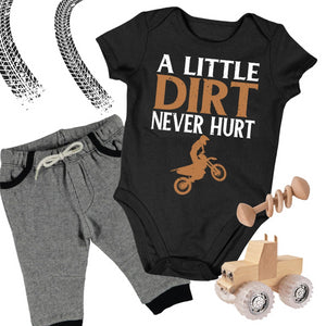 Baby Dirt Bike Onesie - A Little Dirt Never Hurt - Baby Bodysuit