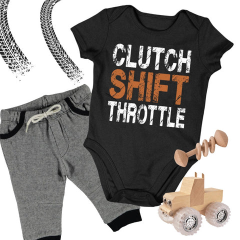 Baby Dirt Bike Onesie - Clutch Shift Throttle - Baby Bodysuit