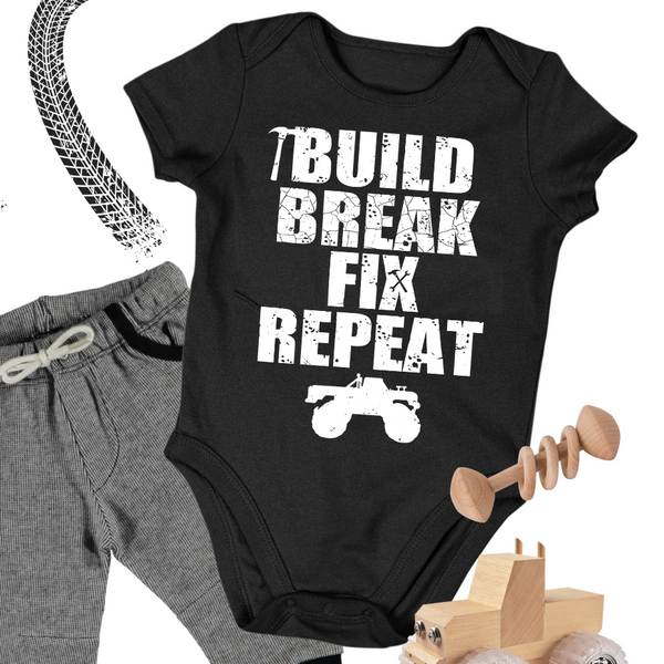 Baby Truck Onesie - Build Break Fix Repeat Truck Baby Onesie Bodysuit