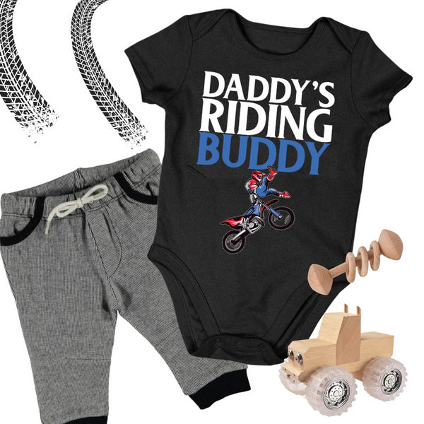 Baby Dirt Bike Onesie - Daddy's Riding Buddy - Baby Bodysuit