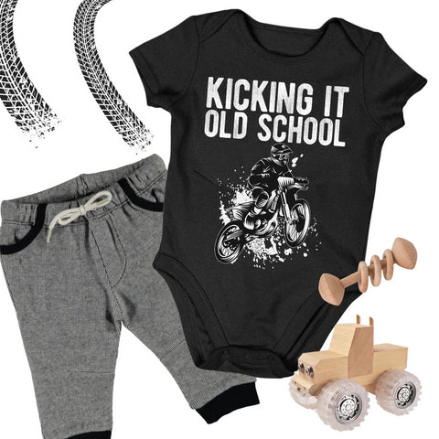 Baby Dirt Bike Onesie - Kicking It Old School - Baby Bodysuit