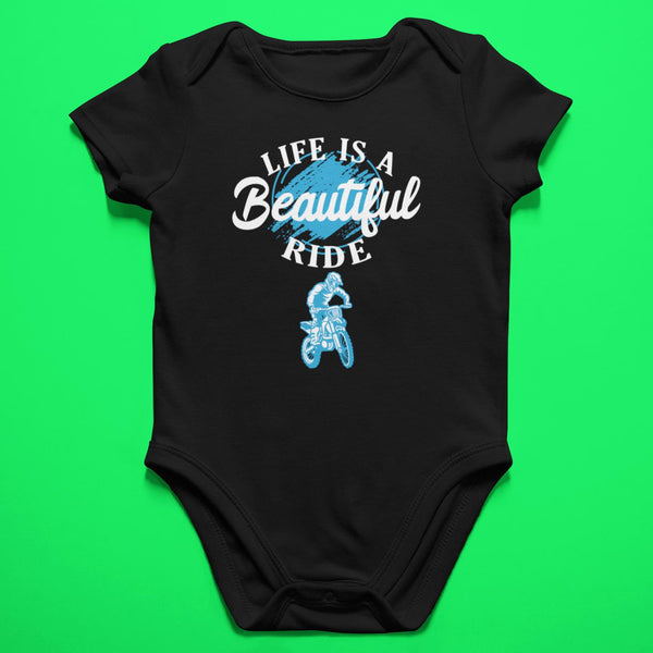 Baby Dirt Bike Onesie- Life Is A Beautiful Ride - Baby Bodysuit-Onesie-Fast Life - Full Throttle