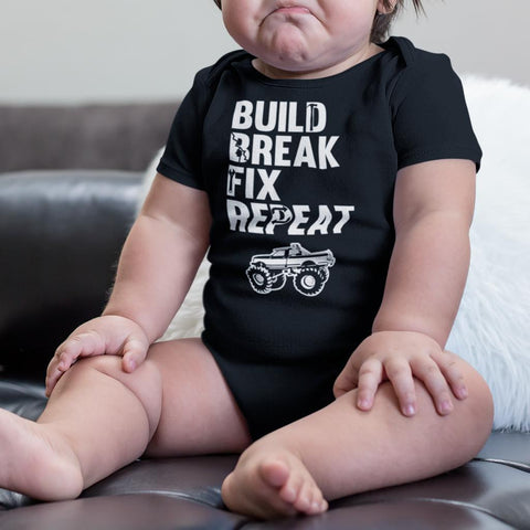 Build Break Fix Repeat Mudding Baby Onesie Bodysuit