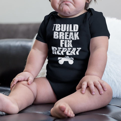 Build Break Fix Repeat Truck Baby Onesie Bodysuit
