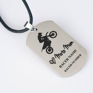 Custom Moto Mom Necklace Personalized Motocross Customized Engraved Dog Tag Moto Racer Dirt Bike Rider Gift - FREE SHIPPING-Custom Necklace-Fast Life - Full Throttle