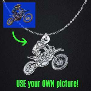 Custom Motocross Necklace, Photo Engraved Silhouette Pendant Charm & Chain-Custom Necklace-Fast Life - Full Throttle