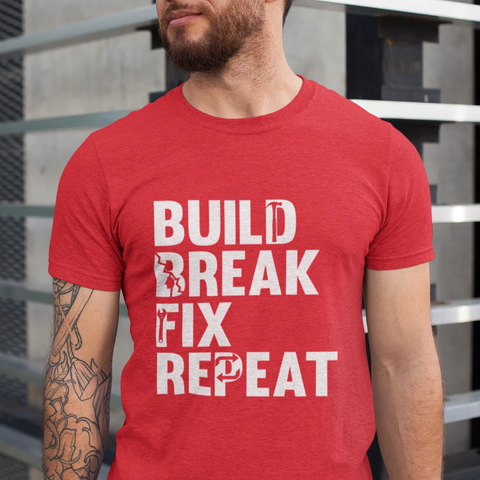 Mens Truck T-Shirt - Build Break Fix Repeat