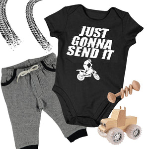 Baby Dirt Bike Onesie - Just Gonna Send It Motocross Bodysuit-Onesie-Fast Life - Full Throttle