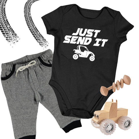 Baby ATV Onesie - Just Send It Four Wheeler Side by Side UTV Baby Bodysuit-Onesie-Fast Life - Full Throttle