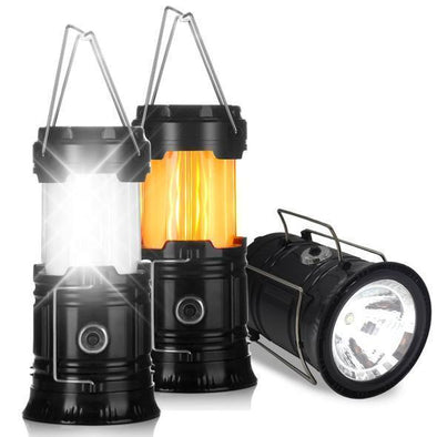 3-In-1 Retractable Camping Flame Lantern Battery Powered Portable Outdoor
