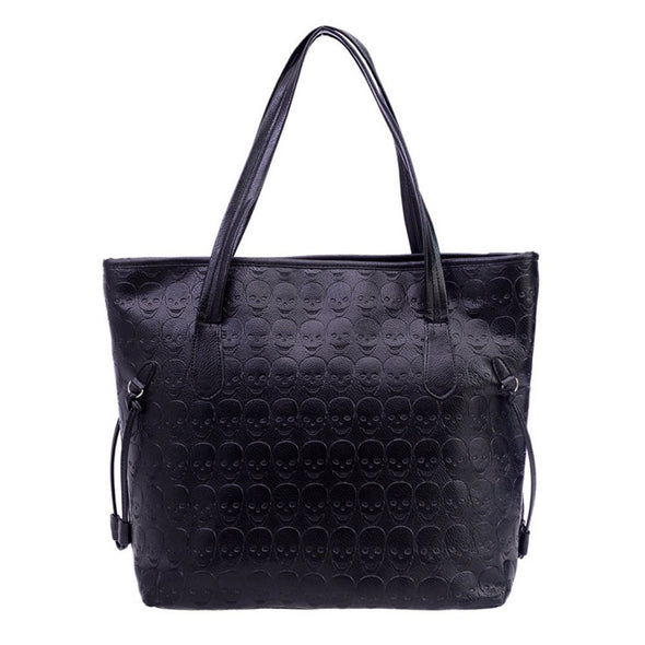 Leather skull tote shoulder bag