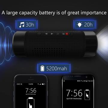 3 In 1 Waterproof Bluetooth Speaker, Power Bank, Flashlight
