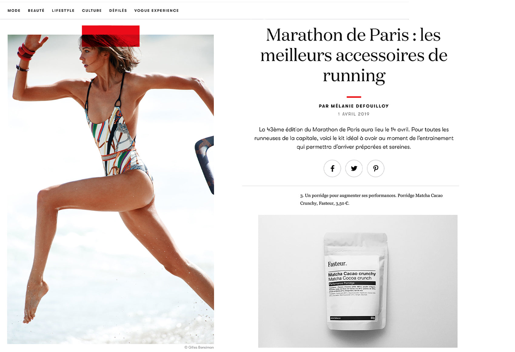 Vogue Fasteur Marathon Paris 2019