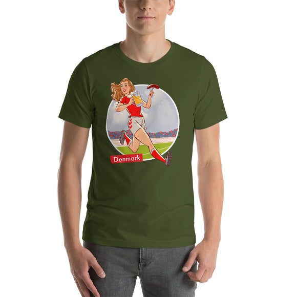 Denmark, Football Pin-Up, Short-Sleeve Unisex T-Shirt