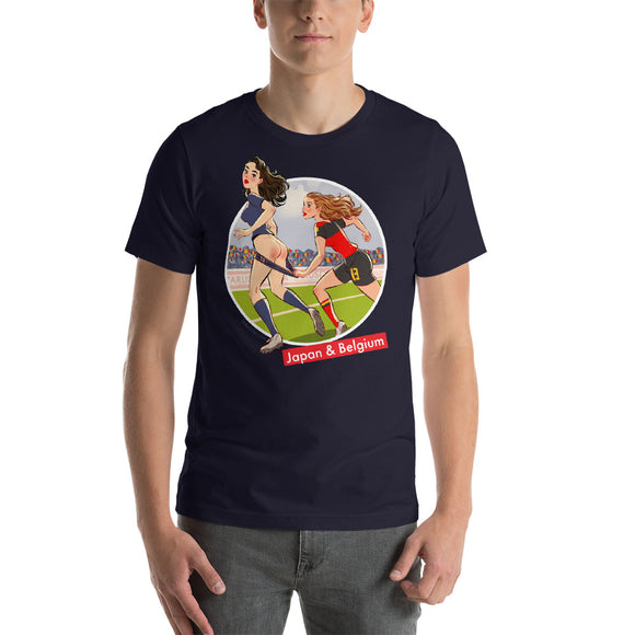 Japan & Belgium, Football Pin-Up, Short-Sleeve Unisex T-Shirt