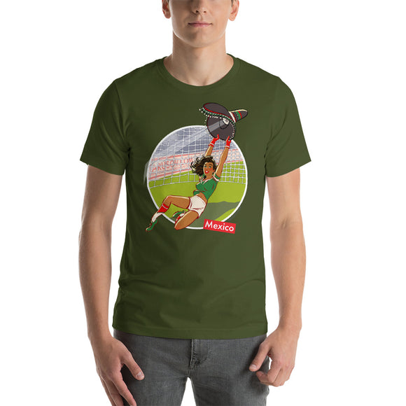 Mexico, Football Pin-Up, Short-Sleeve Unisex T-Shirt