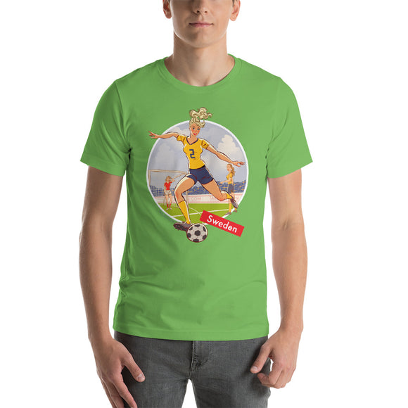 Sweden, Football Pin-Up, Short-Sleeve Unisex T-Shirt