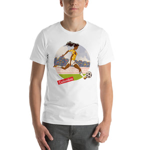 Colombia, Football Pin-Up, Short-Sleeve Unisex T-Shirt