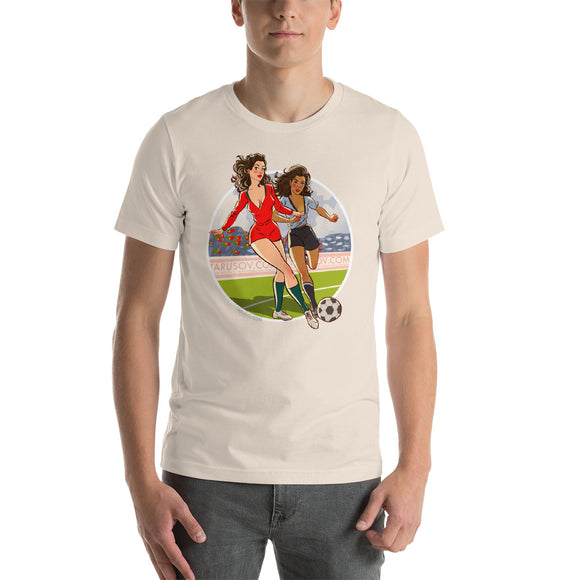 Portugal & Uruguay, Football Pin-Up, Short-Sleeve Unisex T-Shirt