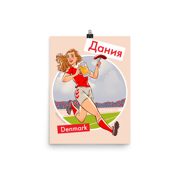 Denmark, Footbal Pin-Up, Poster
