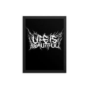Life Is Beautiful (Deathmetal Logo), Funny Texts, Framed poster