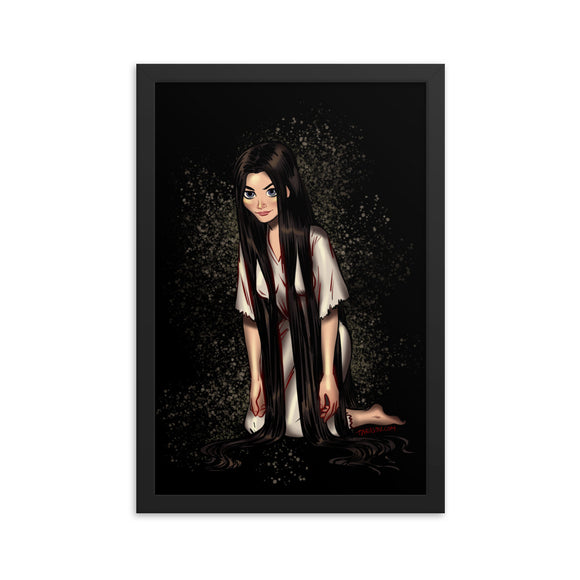 Sadako Yamamura from the Ring - Rapunzel, Maniac Princesses, Framed poster