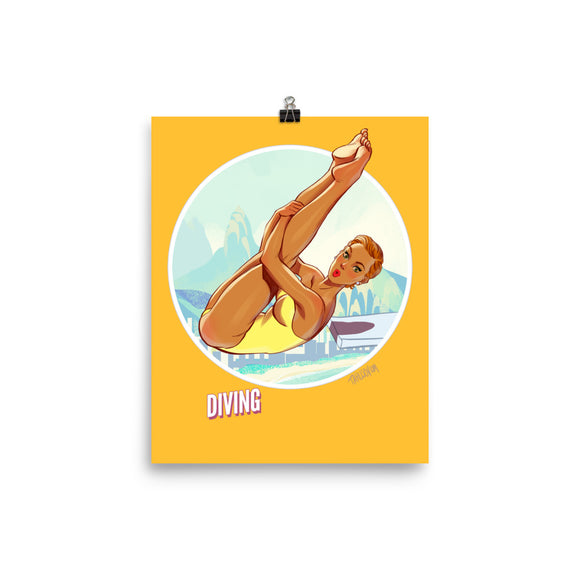 Diving, Brazil Olympics, Poster
