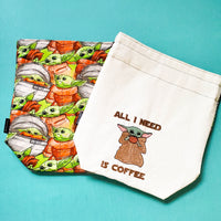 Baby Alien Coffee Bag, small project bag