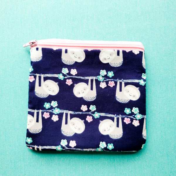Blue Sloth, zipper pouch