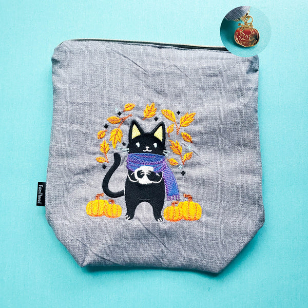 Autumn Cat, small zipper bag