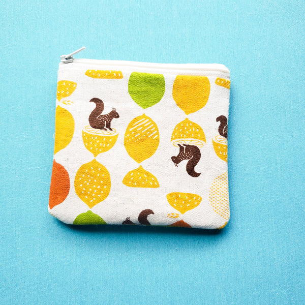 Citrus Squirrels, zipper pouch