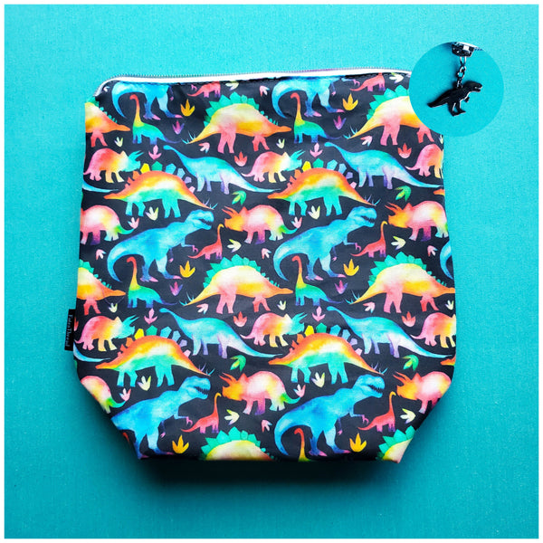 Rainbow Dinosaurs, small zipper bag