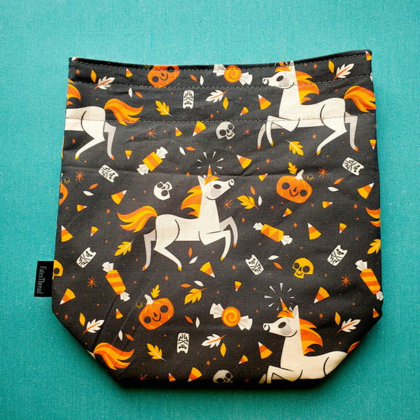 Candy Corn Unicorn, Halloween, small project bag