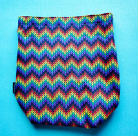 Rainbow knit Chevrons, small project bag