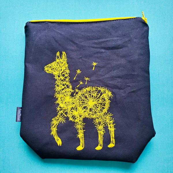 Yellow Dande-llama, small zipper bag