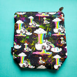 Rain-bones, rainbow skulls, small zipper bag
