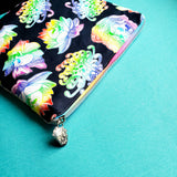 Floral Rainbow Skulls, small zipper bag
