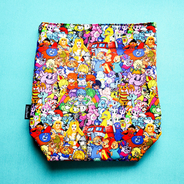 80's babies cartoons, small project bag