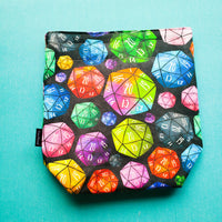 Rainbow dice, small project bag