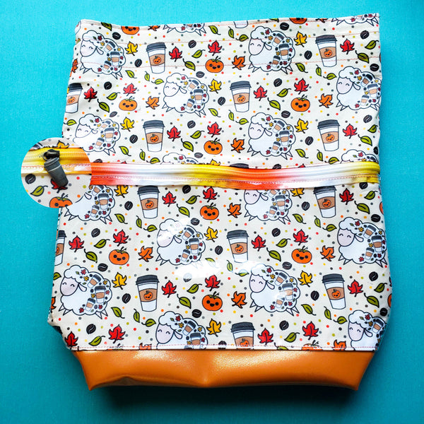 Pumpkin Spice Sheep, Deluxe Large Bag with Clear zipper pocket