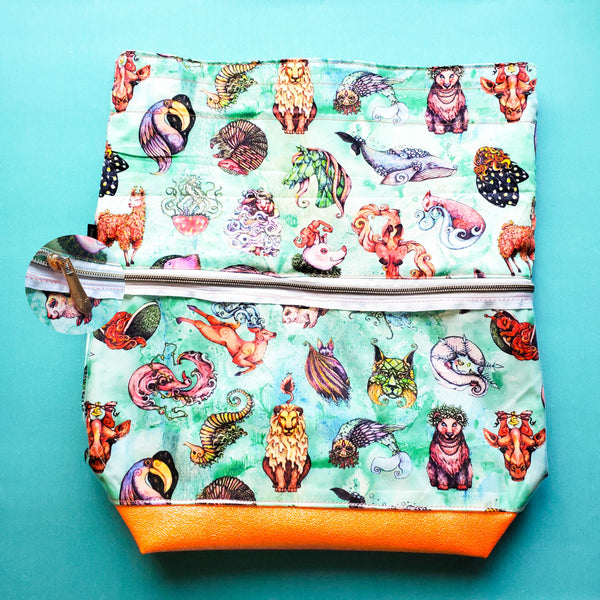 Whimsical Wildlife, Deluxe Large Bag with Clear zipper pocket