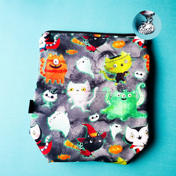 Monster Kitties, Cat, small zipper project bag