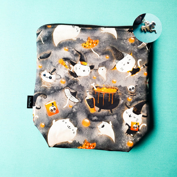 Witch Kitties, Cat, small zipper project bag