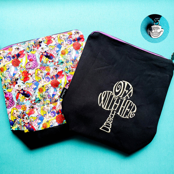 Off with her head Alice, small zipper bag