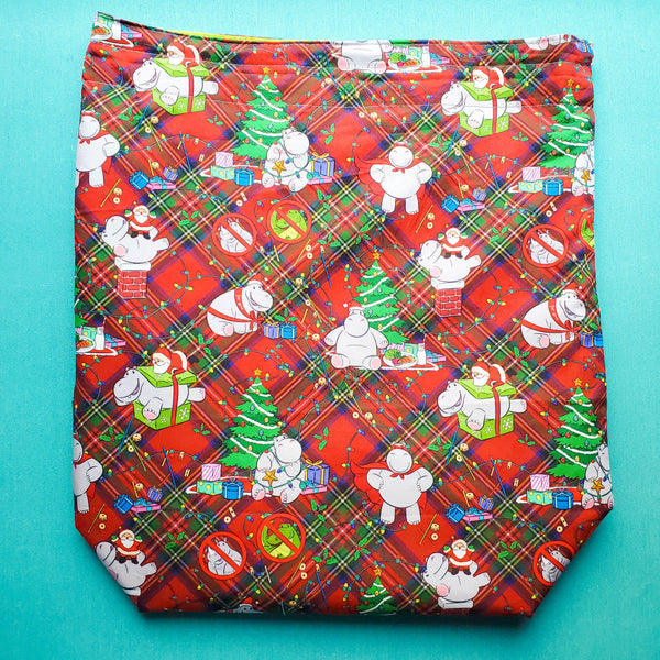Christmas Hippo, large project bag