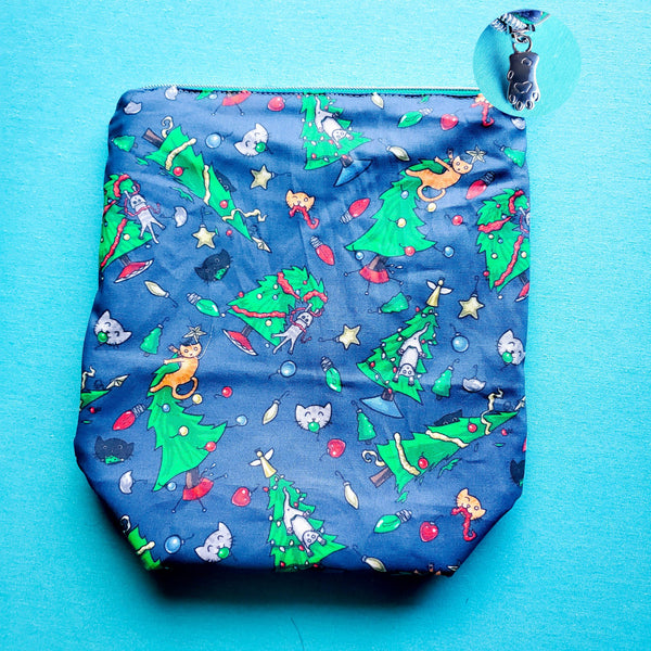Christmas Trees and Cats, small zipper project bag