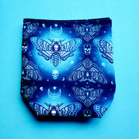 Neon Blue Moth, small project bag